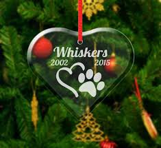 personalized pet heart christmas ornament paw print rememberance