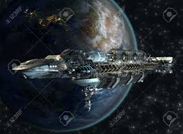 spaceship fleet arriving to earth as a 3d concept for futuristic
