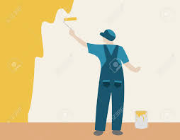 Inhouse Person Painting A Color Wall In House Royalty Free Cliparts