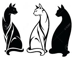 black and white cat cute outline tattoo designs tribal face
