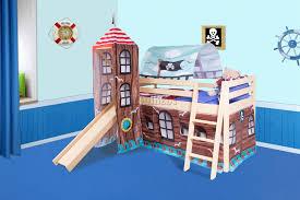 FoxHunter Wooden Mid Sleeper Cabin Bunk Bed Kids Tent Tower Slide - Mid sleeper bunk bed
