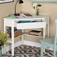 White Corner Workstation Desk Simple Living Antique White Finish Wood Corner