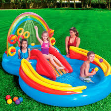 Best Backyard Water Slides Amazon Com Intex Rainbow Ring Inflatable Play Center 117