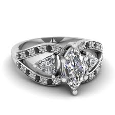 black stones rings images Marquise cut trillion antique 3 stone engagement ring with black jpg