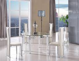 torino dining set with 4 ivory chairs modern furniture direct