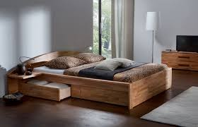 Solid Wood Platform Bed Plans by Furniture Brown Wooden King Size Bed With Side And Foot Storage