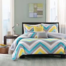 Blue Striped Comforter Set Sporty Blue Teal Yellow Grey White Chevron Stripe Comforter Set