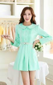 light green dress with sleeves dress solid color doll collar lace matching long puff sleeve
