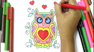 owl coloring page for kids to learn to color and paint how to