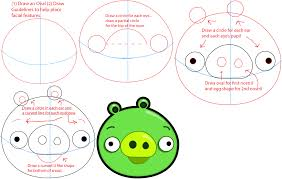 how to draw green pig