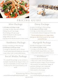 pricing guide blooming bites photography