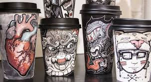 this designer turns paper coffee cups into works of art the