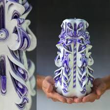 gifts for men unique gift carved candle purple candle