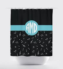 Monogram Shower Curtains Music Note Shower Curtain With Circle Monogram For Girls U2013 Shop