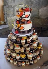 2 tier autumn cutting cake u0026 assorted cupcakes cake design