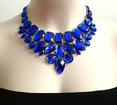 blue bib necklace images Royal blue bib rhinestone necklace wedding bridesmaids prom jpg