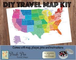 Map With Pins Diy Colorful Us Push Pin Travel Map Kit With 100 Pins