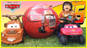 Lighting Mcqueen Halloween Costume by Disney Cars Toys Giant Egg Surprise Opening Lightning Mcqueen Tow