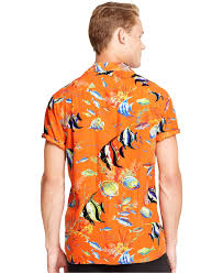 Halloween Hawaiian Shirt by Polo Ralph Lauren Tropical Print Camp Shirt In Orange For Men Lyst