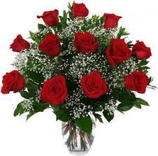 one dozen roses one dozen roses arranged in a vase with baby s breath in