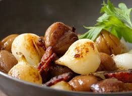 sautéed chestnuts onions and bacon recipe simplyrecipes