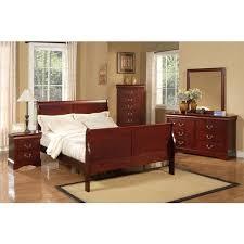 alpine furniture louis philippe ii 4 bedroom set cherry