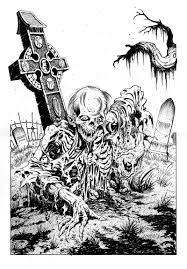 graveyard clipart black and white zombie graveyard drawing lineart skeletons u0026 zombies