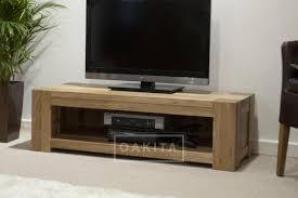 Furniture Tv Unit St Ives Oak Wide U0026 Low Tv Cabinet Oak Tv Stands U0026 Entertainment