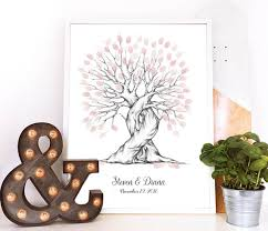 wedding tree finger print tree wedding guest book personalised wedding gift