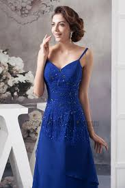 royal blue spaghetti straps chiffon evening dresses with a wrap