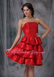 red a line strapless knee length ruffled layers cocktail dress
