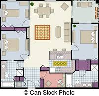 vector illustration of floor plan of one bedroom condo vector