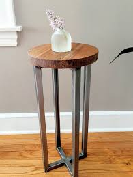round wood and metal side table round reclaimed wood accent table steel frame pedestal what we make