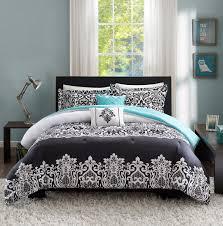black white teal blue comforter set medallion scroll teen bedding