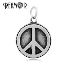 reamor 316l stainless steel peace symbol floating dangle charms