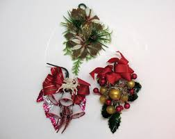 three vintage christmas decorations pin ons corsages 1950s good