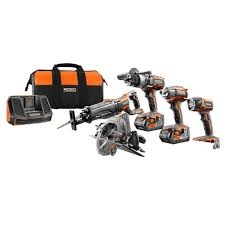 ridgid 18 volt gen5x cordless lithium ion combo kit 5 tool with