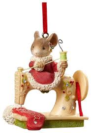 enesco of mouse sewing machine ornament