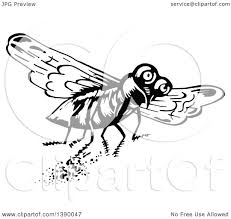 vintage martini clipart clipart of a vintage black and white fly royalty free vector
