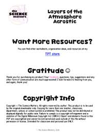 layers of the atmosphere acrostic by the science matters tpt