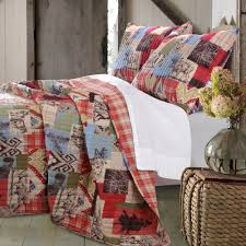 rustic lodge bear and moose quilt set