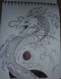 black and white chinese dragon sketch by cass devourer oflove on