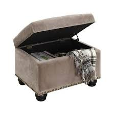 Taupe Ottoman Convenience Concepts Storage Ottoman In Taupe