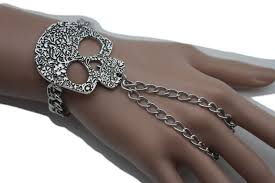 metal bracelet women images Silver metal bracelet slave ring skeleton skull charm halloween jpg