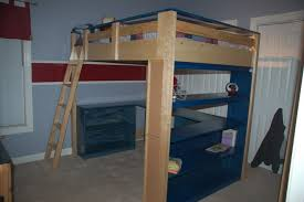 wooden full size loft bed with desk underneath great full size