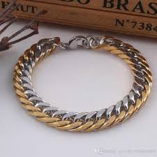 chain links bracelet images 2018 two tone 10mm men bracelet cuban links chains stainless jpg