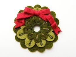 mini felt christmas wreath ornament or brooch 7 00 via etsy