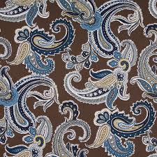 Blue Paisley Curtains Navy Blue Paisley Cotton Upholstery Fabric Blue Brown