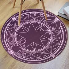 Round Bathroom Rugs Purple Crystal Velvet Fabric Magic Circle Round Bathroom Rug