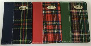 2017 diary scottish tartan print fabric small pocket size journal